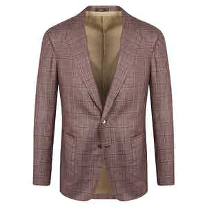Red Check Silk-Cashmere Jacket