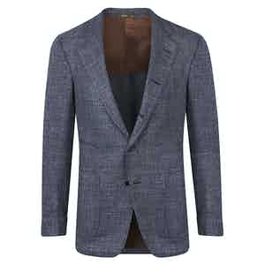 Blue Wool-Silk-Linen Weave Jacket