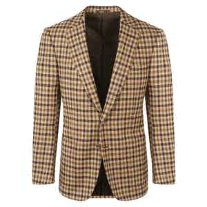 Brown Check Single-Breasted Wool Jacket