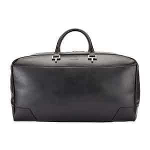 Black Leather Hingham Holdall