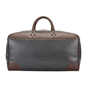 Chocolate and Pewter Leather Hingham Holdall