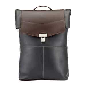 Chocolate and Pewter Leather Gainsborough Backpack