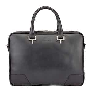 Black Leather Mortimer Briefcase