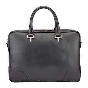 Black Leather Mortimer Briefcase