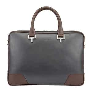Chocolate and Pewter Leather Mortimer Briefcase