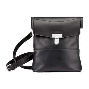 Black Leather Ripon Reporter Bag