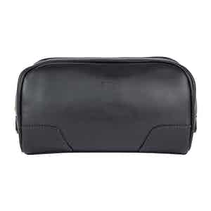 Black Leather Hove Washbag