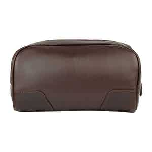 Chocolate Leather Hove Washbag