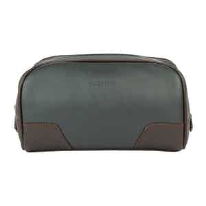 Chocolate and Pewter Grey Leather Hove Washbag