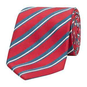 Red and Grey Asymmetric Stripe Silk Tie
