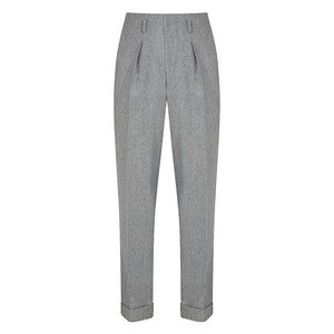 Silver Grey Flannel Wide Leg Hollywood Trousers