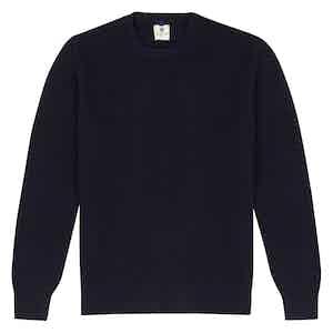 Navy Wool Crew Neck Sweater