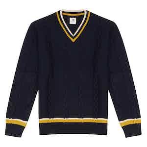 Navy Wool V Neck Sweater