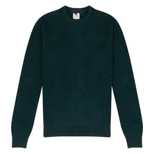 Dark Green Wool Crew Neck Multi-Knit Sweater