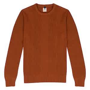 Brick Orange Wool Crew Neck Multi-Knit Sweater