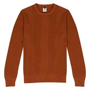 Brick Orange Wool Crew Neck Multi-Knit Sweater