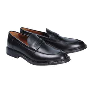 Black Leather Stirling Penny Loafers