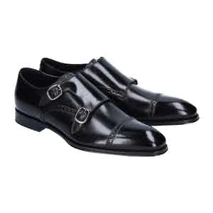 Black Calf Leather Double Monk Straps