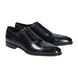 Black Calf Leather Perforated Toe Oxfords