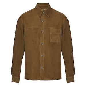 Khaki Green Luxurious Suede Shirt