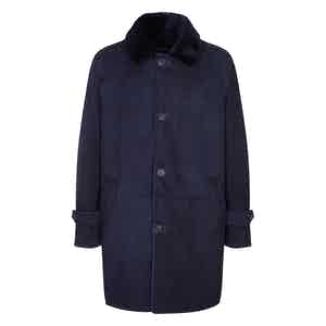 Navy Sheepskin and Merino Washington Coat