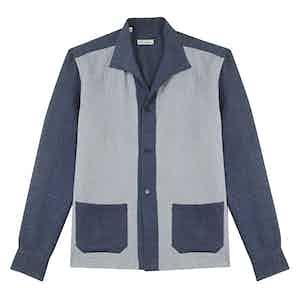Light Blue and Navy Cotton Jacquard Overshirt