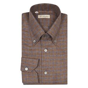 Brown Check Linen Winter Shirt