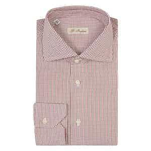 Red Window-Check Cotton Poplin Shirt