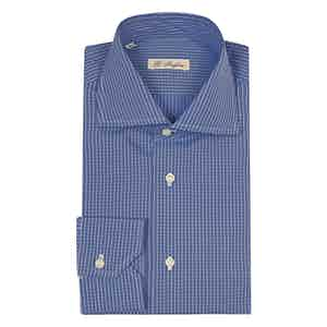 Light Blue Window Check Cotton Poplin Shirt