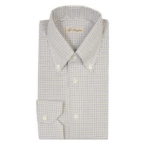 Blue and Brown Window Check Cotton Poplin Shirt