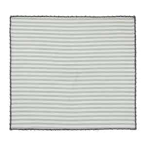 Green and Grey Striped Cotton Pocket Square