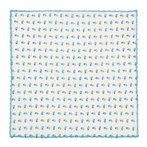 Turquoise Micro-Paisley Pattern Cotton Pocket Square