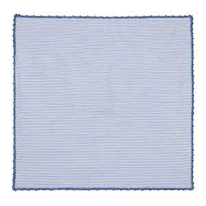 Striped Blue Cotton Poplin Pocket Square