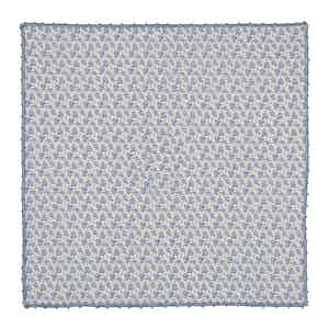 Blue Freesia-Print Cotton Poplin Pocket Square