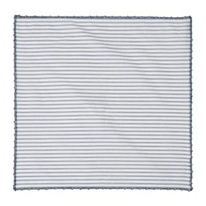 Striped Indigo Cotton Poplin Pocket Square