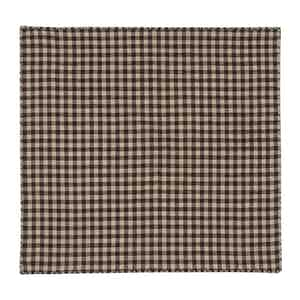 Brown Cotton Oxford Check Pocket Square
