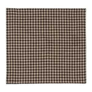 Brown Cotton Oxford Check Pocket Square