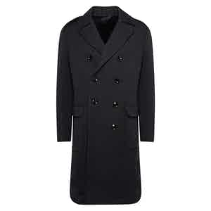Navy Wool Lined Chesterfield Coat