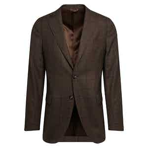 Brown Check Wool Single-Breasted Suit