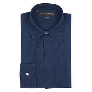 Indigo Cotton Pleated Rockwell Dress Shirt