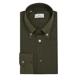 Khaki Green Graph Check Cotton Shirt