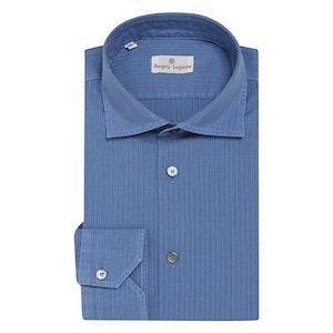 Mid-Blue Striped Cotton Shirt