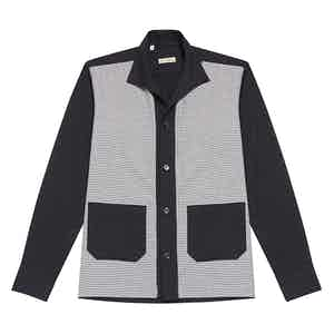Navy Houndstooth Brushed-Cotton Overshirt