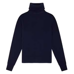 Navy Blue Geelong Lambswool Hero Roll-Neck Sweater