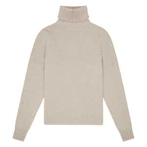 Oatmeal Geelong Lambswool Hero Roll-Neck Sweater
