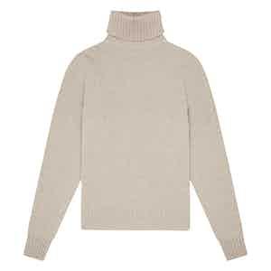 Oatmeal Geelong Lambswool Hero Roll-Neck Sweater