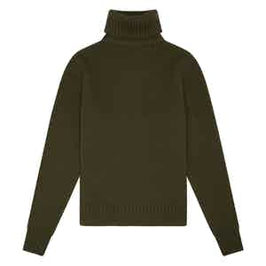 Olive Green Geelong Lambswool Hero Roll-Neck Sweater