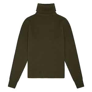 Olive Green Geelong Lambswool Hero Roll-Neck Sweater