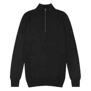 Black Merino Wool Zipped Marston Sweater