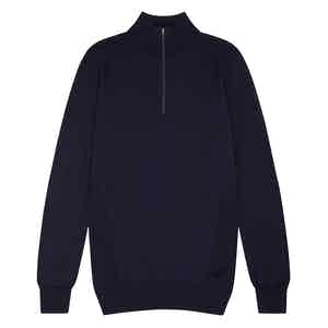 Navy Merino Wool Zipped Marston Sweater